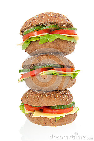 Stacked healthy brown bread roll with cheese