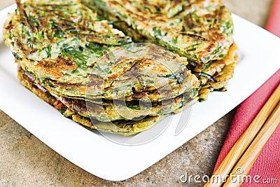 Stacked Korean Green Onion Pancakes Ready to Eat