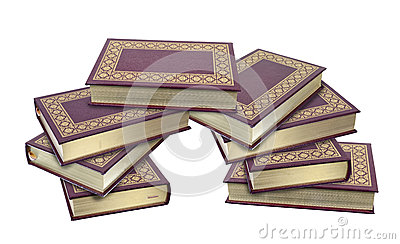 Stacked Leather Books with Gold Leaf Edges