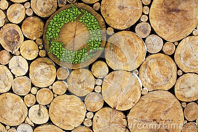 Stacked Logs with recycle symbol
