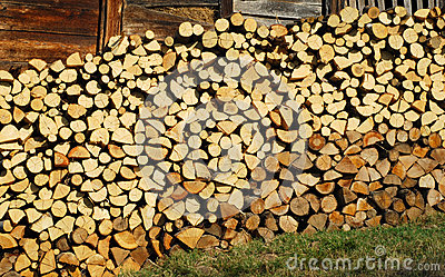 Stacked oak firewood on wall