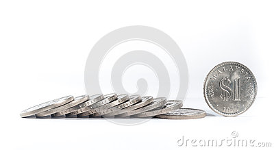 Stacked of Old Malaysia Coins on white background