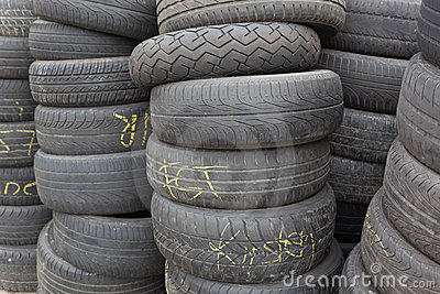 Stacked old tires