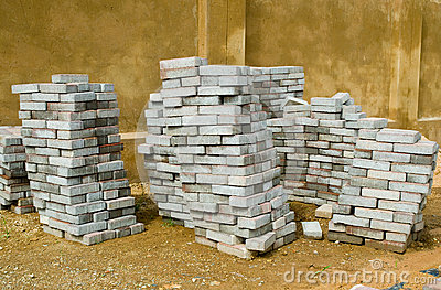 Stacked paving tiles