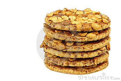 Stacked peanut cookies