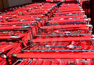 Stacked shopping carts at supermarket