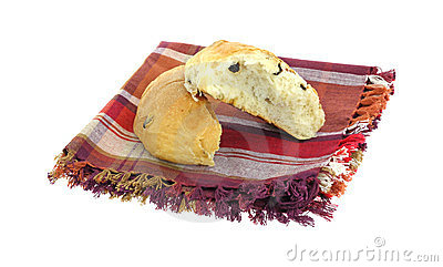 Stacked Split Raisin Bun on Napkin
