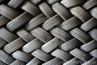 Stacked tires in a pattern