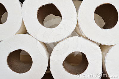 Stacked toilet paper