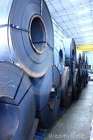 Stacked Up Hot Rolled and Cold Rolled Steel Coils