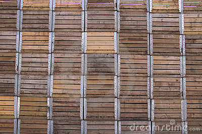 Stacked wooden apple crates
