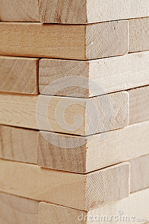 Stacked wooden blocks closeup