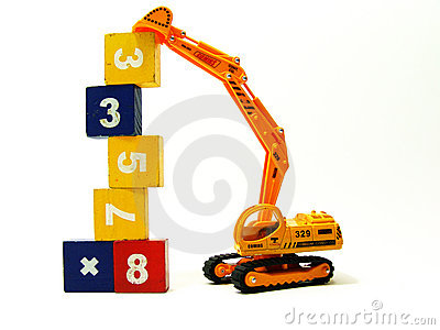 Miniature excavator stacking up cubes