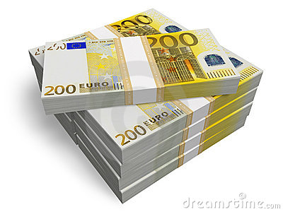 Stacks of 200 Euro banknotes