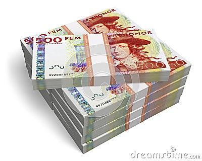 Stacks of 500 Swedish krona banknotes
