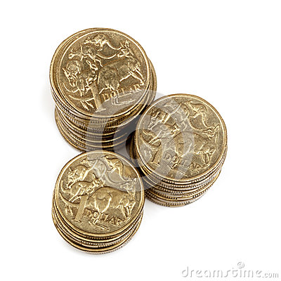 Stacks of Australian One Dollar Coins