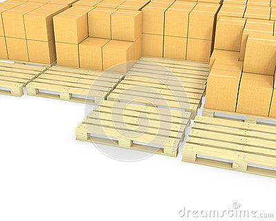 Stacks of cardboard boxes on a pallets