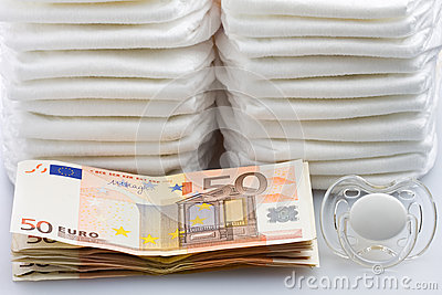 Stacks of Euro Banknotes Diapers and Pacifier