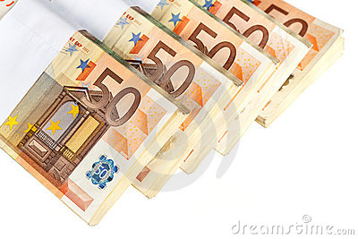 Stacks of fifty euro banknotes