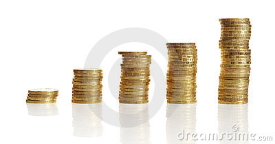 Stacks of gold coin