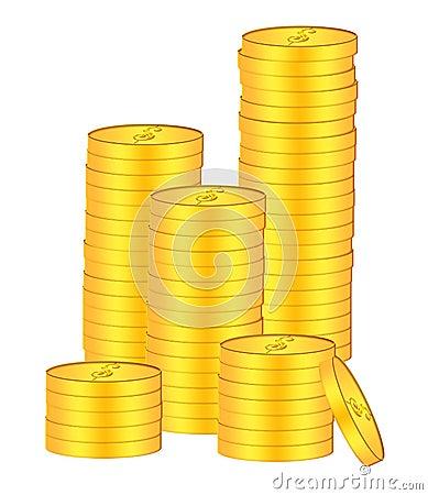 Stacks of Gold Coins Bullion Illustration
