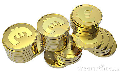 Stacks of gold coins isolated on white