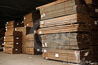 Stacks of hardwood