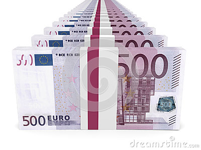 Stacks of money. Five hundred euros.