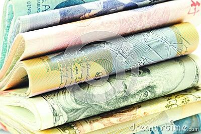 Stacks of Money - macro 3/4 view