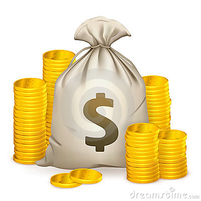 Free Stacks Of Coins And Money Bag Stock Photos - 20634313