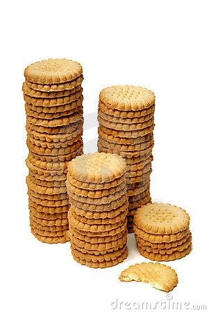 Free Stacks Of Cookies Isolated On White Stock Photos - 10909543