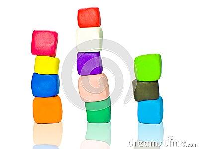 Stacks of plasticine blocks