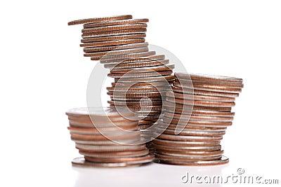 Stacks of quarters