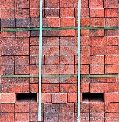 Stacks of red bricks