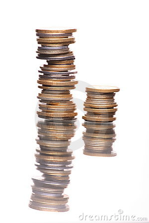 Stacks of reflecting coins