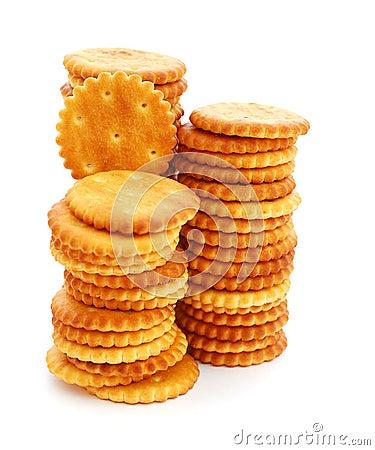 Stacks of round cracker