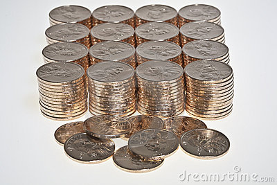 Stacks of  US dollar gold coins