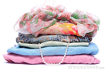 Stacks of women colored clothes