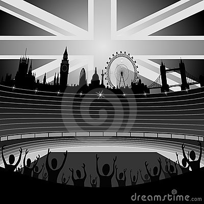 Stade avec l horizon de Londres