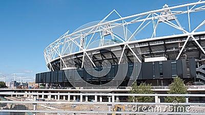Stadio olimpico in costruzione, Londra. Fotografia Editoriale