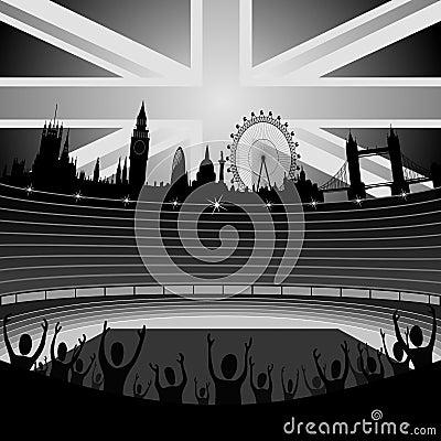 Stadion mit London-Skylinen