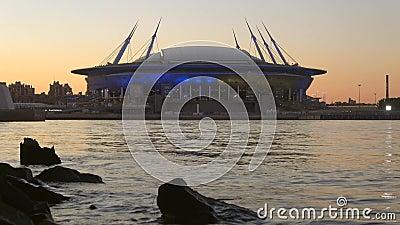 Stadium `arena di San Pietroburgo` Arena di Zenit, crepuscolo San Pietroburgo stock footage