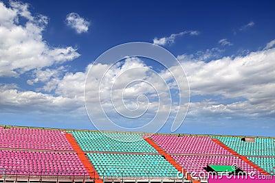 Stadium colorful grandstand blue sky