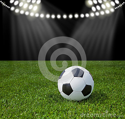 Free Stadium For Soccer. Ball On Green Grass. Royalty Free Stock Photography - 55766897