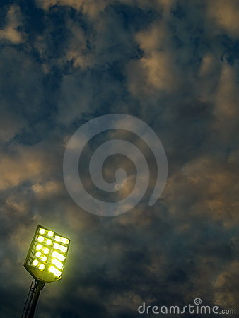 Stadium lighting before storm