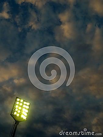 Stadium lighting before storm