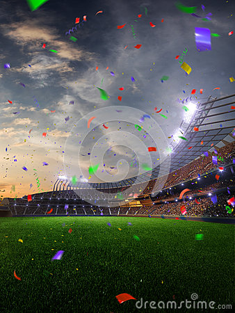 Free Stadium Sunset Confetti And Tinsel With People Fans. 3d Render Illustration Cloudy Stock Photography - 87844532