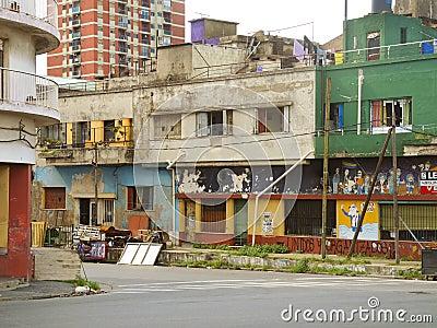 Stads- förfall i La Boca, Buenos Aires Redaktionell Arkivbild