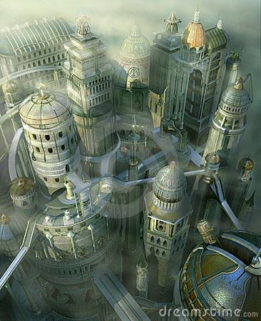 Stadtformular der Fantasie 3D vorüber zur Zukunft