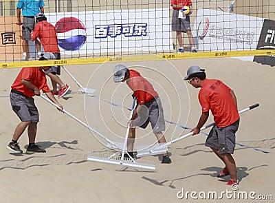 Staff of beach volleyball,xiamen,china Editorial Photo